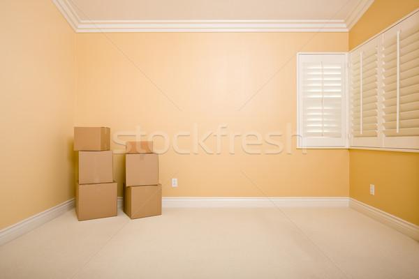 Habitación vacía espacio de la copia pared casa cartón Foto stock © feverpitch