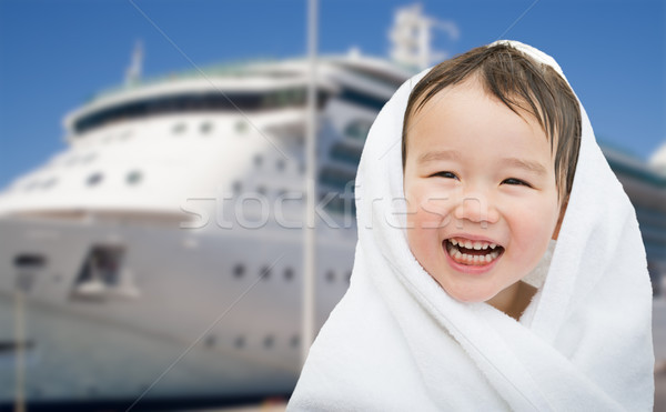Happy Mixed Race Chinese and Caucasian Boy Near Cruise Ship Wrap Stock photo © feverpitch