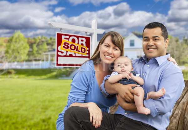 Young Family in Front of Sold Real Estate Sign and House Stock photo © feverpitch