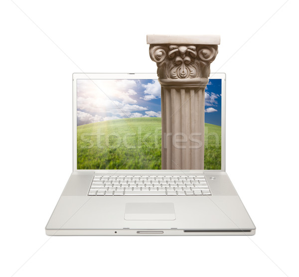 Silver Computer Laptop Isolated with Column Stock photo © feverpitch