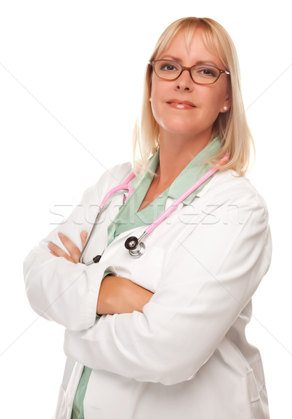 Attractive Female Doctor or Nurse on White Stock photo © feverpitch