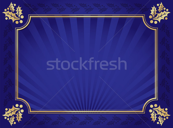Blue and Gold Holly Trimmed Background Stock photo © feverpitch