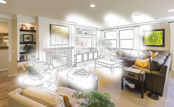 Living Room Drawing Brush Stoke Gradation Into Photograph Stock photo © feverpitch