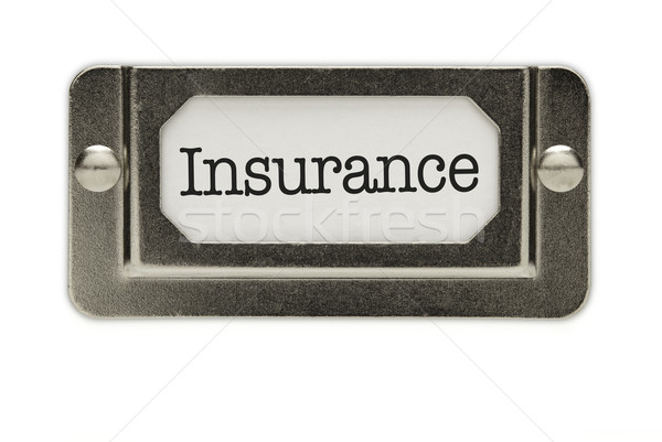 Photo stock: Assurance · fichier · tiroir · étiquette · isolé · blanche