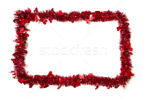 Red Tinsel with Hearts Border Frame Stock photo © feverpitch