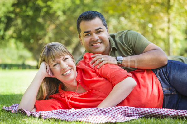 Attractive Mixed Race Couple Portrait at the Park Stock photo © feverpitch