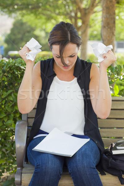 Verärgert Bleistift Papier Hände frustriert Stock foto © feverpitch