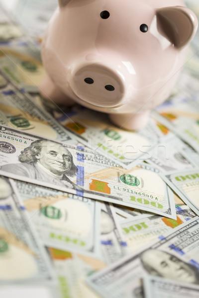Piggy Bank on Newly Designed One Hundred Dollar Bills Stock photo © feverpitch