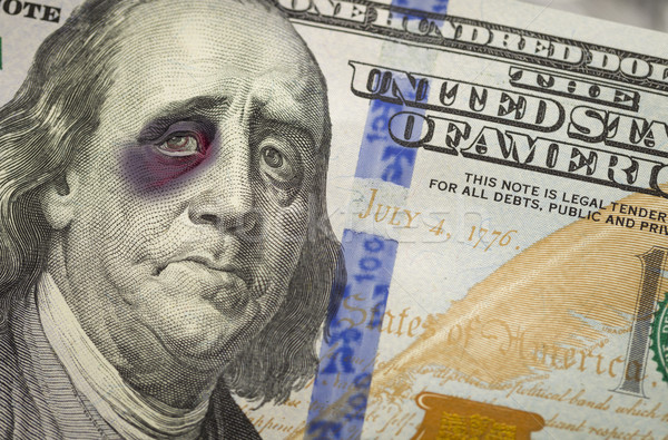 Black Eyed Ben Franklin on New One Hundred Dollar Bill Stock photo © feverpitch