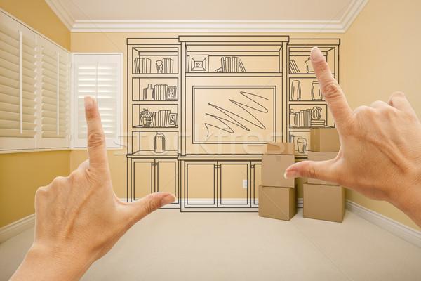 Mani stanza vuota shelf disegno muro design Foto d'archivio © feverpitch
