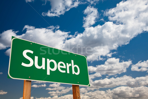Superb Green Road Sign with Sky Stock photo © feverpitch