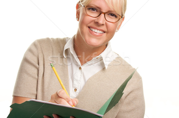 Stock photo: Beautiful Woman with Pencil and Folder