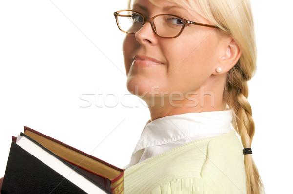 Vonzó diák hordoz könyvek izolált fehér Stock fotó © feverpitch