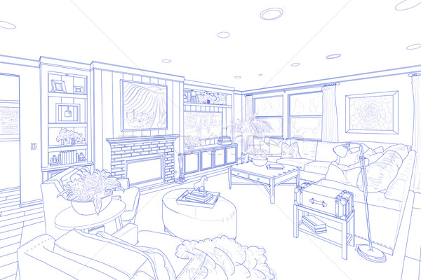Blue Line Drawing of a Custom Living Room Stock photo © feverpitch
