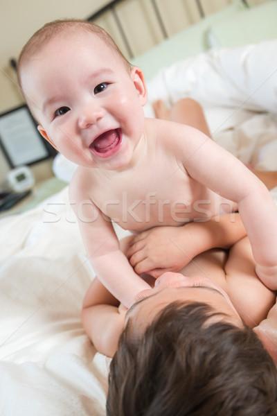 Chinês caucasiano bebê irmãos Foto stock © feverpitch