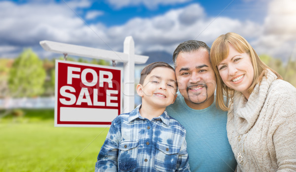 Mixed Race Family Portrait In Front of House and For Sale Real E Stock photo © feverpitch