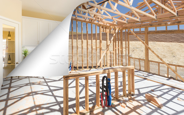 Kitchen Construction Framing with Page Corner Flipping to Comple Stock photo © feverpitch