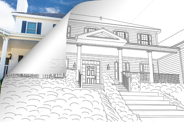 House Drawing Page Corner Flipping with Photo Behind Stock photo © feverpitch