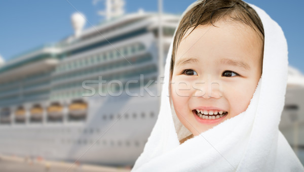 Feliz chinês caucasiano menino navio de cruzeiro Foto stock © feverpitch