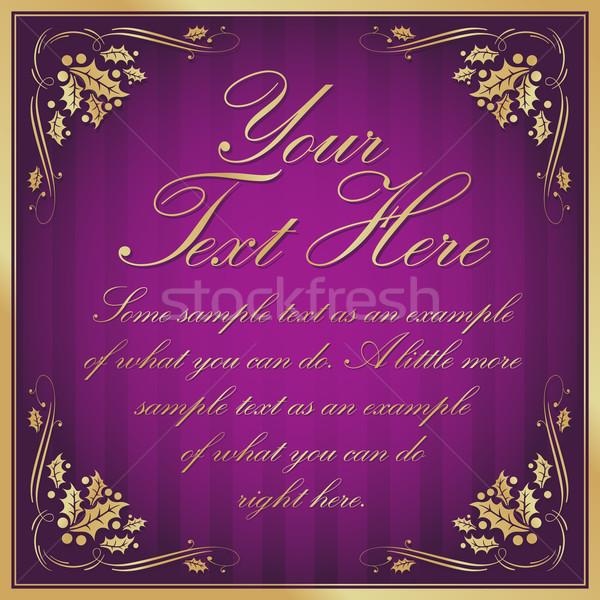 Stock photo: Purple Exotic Holly Cornered Label Background