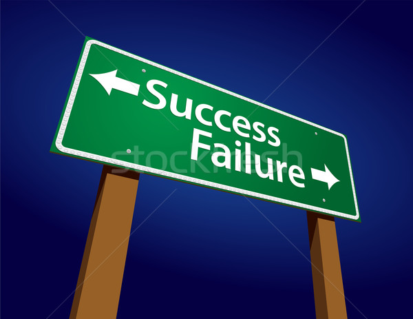 Succes mislukking groene verkeersbord illustratie hemel Stockfoto © feverpitch