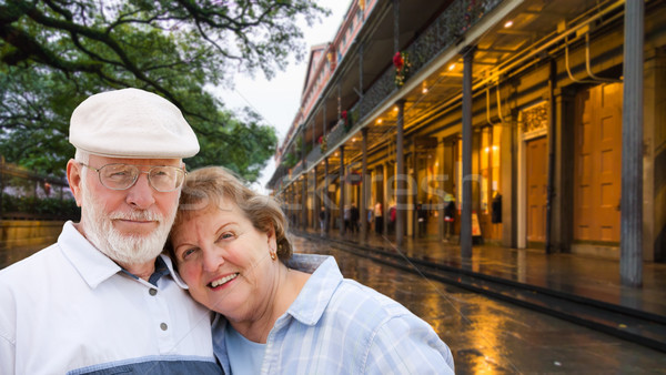 Happy Senior Adult Couple Enjoying an Evening in New Orleans, Lo Stock photo © feverpitch