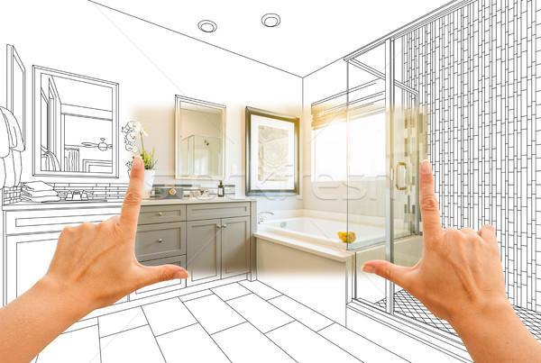 Handen gewoonte meester badkamer foto Stockfoto © feverpitch