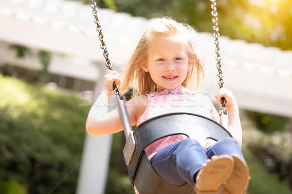 Dość młoda dziewczyna boisko dziecko zabawy Zdjęcia stock © feverpitch