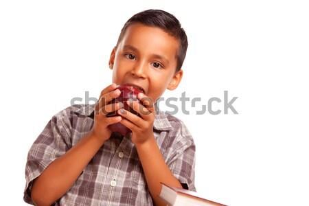 Foto stock: Adorable · hispanos · nino · comer · grande · manzana · roja