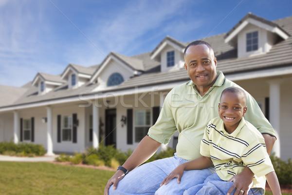 父から息子 ホーム アフリカ系アメリカ人 前庭 楽しい ストックフォト © feverpitch