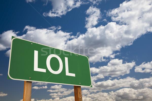 笑 緑 道路標識 空 略語 ストックフォト © feverpitch