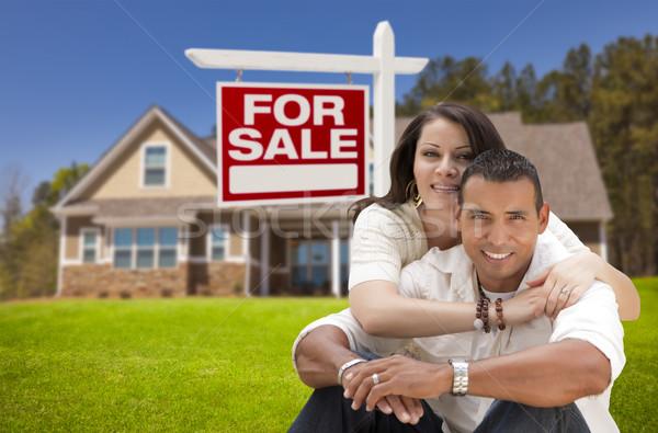 Stock fotó: Spanyol · pár · új · otthon · vásár · ingatlan · felirat