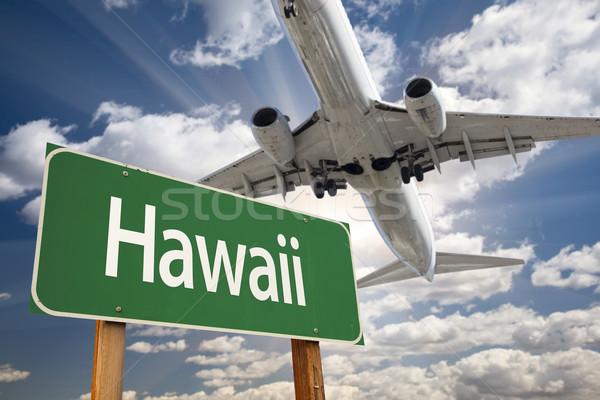 Stock fotó: Hawaii · zöld · jelzőtábla · repülőgép · fölött · drámai