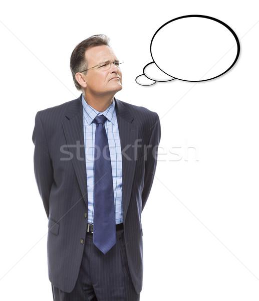 ビジネスマン 思考バブル 白 沈痛 孤立した ストックフォト © feverpitch