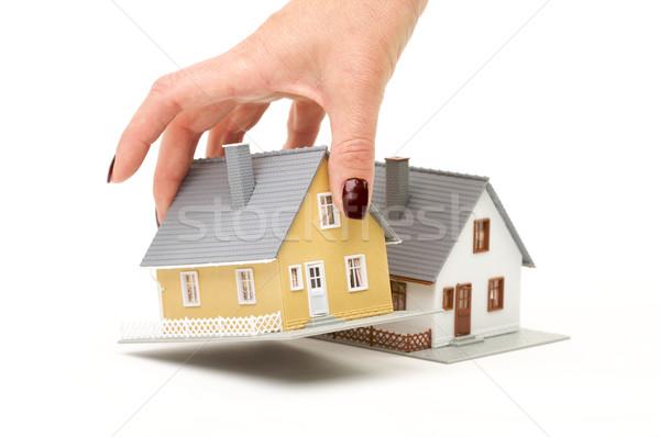 Stock fotó: Választ · otthon · női · kéz · ház · izolált