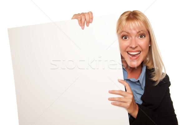 Zdjęcia stock: Atrakcyjny · biały · podpisania · odizolowany