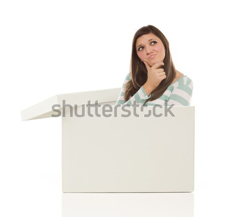 Multiethnic Woman Standing Inside Blank White Box Stock photo © feverpitch