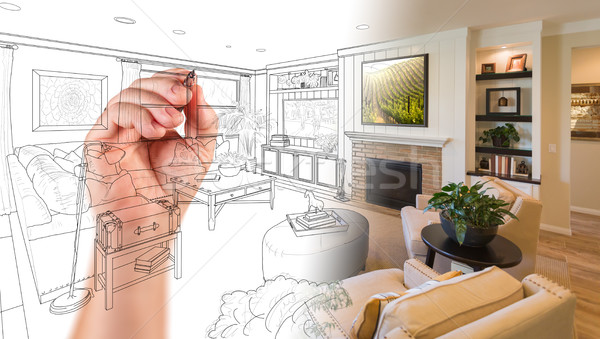 Hand Drawing Custom Living Room Design With Gradation Revealing  Stock photo © feverpitch