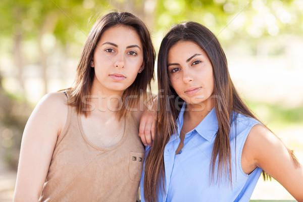 два красивой этнических близнец портрет Сток-фото © feverpitch
