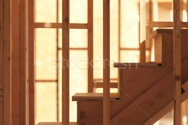 Abstract trap home bouwplaats hout huis Stockfoto © feverpitch
