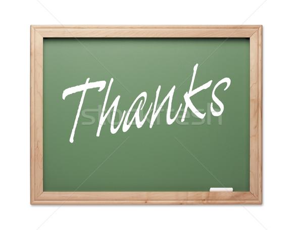 Köszönet zöld kréta tábla fehér iskola Stock fotó © feverpitch