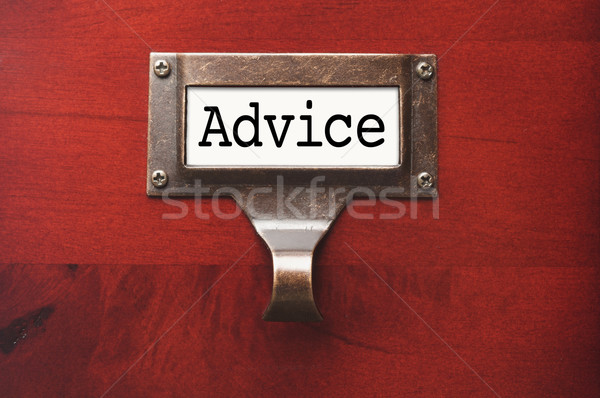 Lustrous Wooden Cabinet with Advice File Label Stock photo © feverpitch
