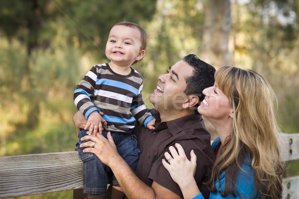 Foto stock: Feliz · étnico · família · jogar · parque