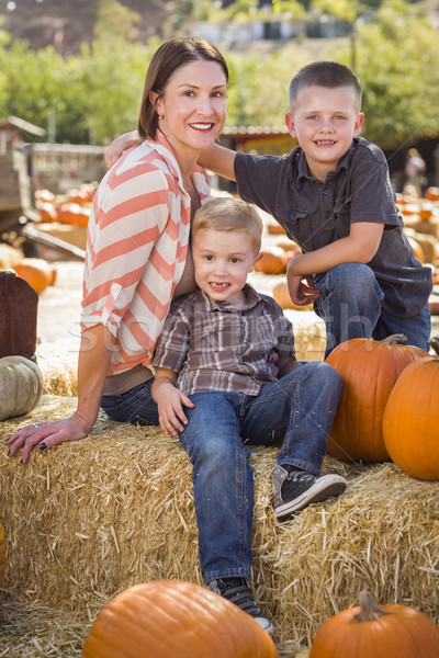 Portrait of Attractive Mother and Her Sons at Pumpkin Patch Stock photo © feverpitch