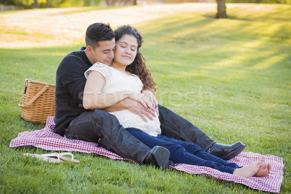 Stockfoto: Zwangere · latino · paar · park · buitenshuis · vreedzaam