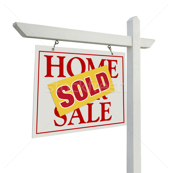 Sold Home For Sale Real Estate Sign on White Stock photo © feverpitch