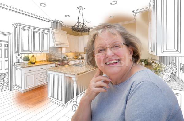 シニア 女性 カスタム キッチン デザイン 図面 ストックフォト © feverpitch