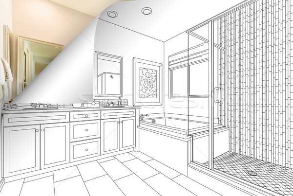 Master Bathroom Drawing Page Corner Flipping with Photo Behind Stock photo © feverpitch