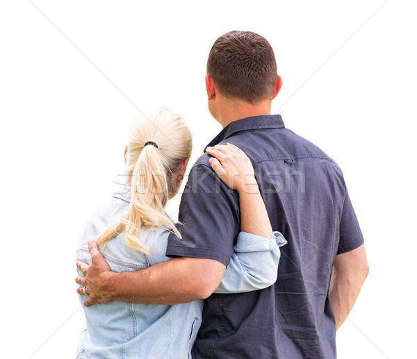 Young Adult Couple Facing Away Isolated On A White Background Stock photo © feverpitch