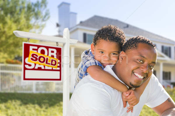 African American Father and Mixed Race Son, Sold Sign, House Stock photo © feverpitch